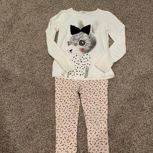 H&M shirt and pink bow ponte pant